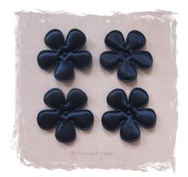 (BLE-042) 4 satijnen bloemen - donkerblauw - 35mm