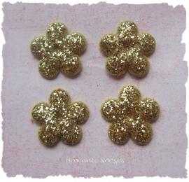 (BLGL-008) 4 glitter bloemetjes - goud - 13mm