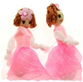 (Pop-002) Popje - roze organza jurkje