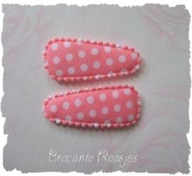 (HOBs-009) 2 hoesjes - baby - stipje - katoen - zacht roze
