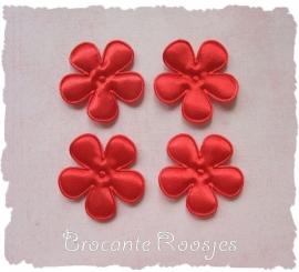 (BLE-037) 4 satijnen bloemen - rood - 35mm