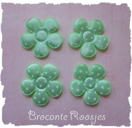 (BLs-025b) 4 polka dot bloemen - satijn - mint - 35mm
