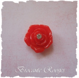 (FLr-012a) Flatback - roosje - strass steentje - rood - 2cm
