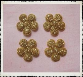 (BLGL-017a) 4 glitter bloemetjes - goud - 2cm