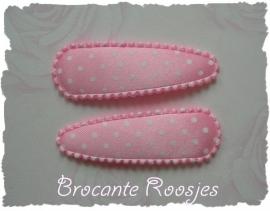 (HOs-002) 2 hoesjes - stipje - licht roze - satijn - 55mm