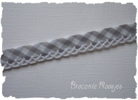 (BI-017) Biaisband met kantje - ruitje - grijs