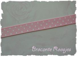 (STG-001) Stippenband - grosgrain - licht roze - 10mm