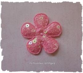 (BLd-027) Bloem - pailletjes - roze - 35mm