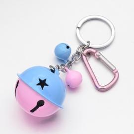 (SLR-007) Sleutelhanger met belletjes - roze/blauw - 13cm