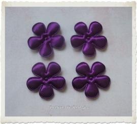 (BLE-044) 4 satijnen bloemen - paars - 35mm