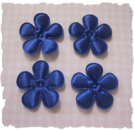 (BLE-041) 4 bloemen - satijn - royal blue - 35mm