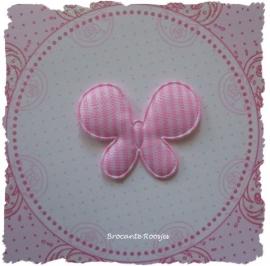 (V-021) Vlinder - ruitje - roze - 4cm