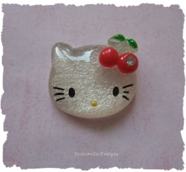 (FLh-004) Kitty flatback - kersjes & strass - rood - 27mm