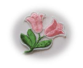 (BL-ka-bor-002) Kanten bloem-applicatie - geborduurd - tulpen