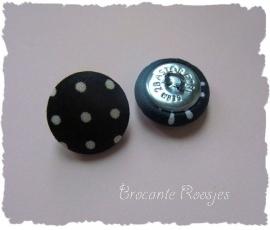 (SK-016) Stofknoopje - 18mm - stipje - zwart
