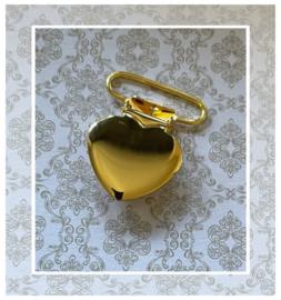 (SPe-012) Speenclip - metaal -  hartje - 2,5cm - goud kleur