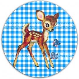 (FB-006) Flatback button - hertje - ruitje - blauw