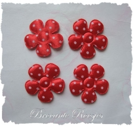 (BLs-013) 4 polka dot bloemetjes - satijn - rood - 25mm