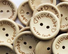 (Kn-001) houten knoop - 'handmade with love' - 25mm