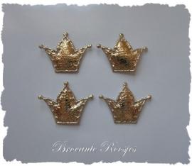 (KR-002) 4 gouden kroontjes - satijn