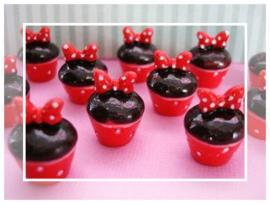 (FL-div-005) Flatback - chocolade cupcake met strikje