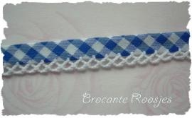 (BI-015) Biaisband met kantje - ruitje - korenblauw
