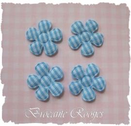 (BLr-001d) 4 geruite bloemetjes - lichtblauw - 22mm