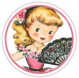 (FB-021) Flatback button - vintage meisje - waaier