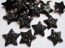 (FL-st-001) Flatback - ster - glitter - zwart - 15mm