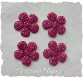 (BLGL-015) 4 glitter bloemetjes - azalea - 2cm