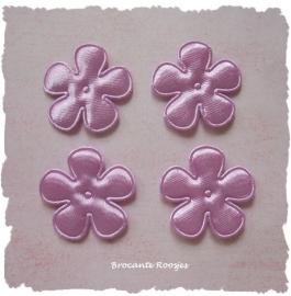 (BLE-021) 4 satijnen bloemetjes - lila - 25mm