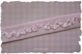 (EB-009) Elastisch band met roezeltje - licht roze - 16mm