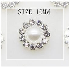 (FLp-012a) Flatback parel - strass - wit - 10mm