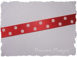 (ST-018) Stippen lint - satijn - grote stip - rood - 15mm