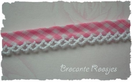 (BI-011) Biaisband met kantje - ruitje - roze