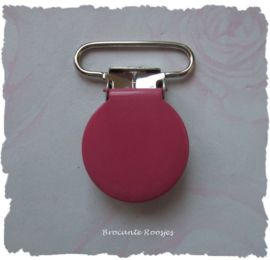 (SPE-008) Speenkoord clip - metaal - fuchsia - 2,5cm