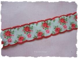 (RO-003) Roosjesband met gehaakt randje - rood
