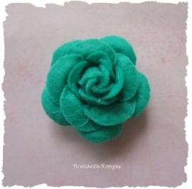 (Rv-027) Vilten roosje - hard groen - 45mm