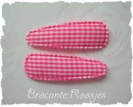 (HOr-001) 2 hoesjes - ruitje - roze - 55mm