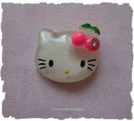 (FLh-003) Kitty flatback - kersjes & strass - fuchsia - 27mm