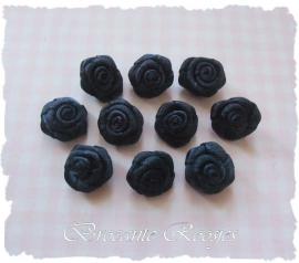 (RM-009a) 10 satijnen roosjes - donkerblauw - 15mm