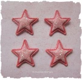 (Ster-011) 4 glitter sterretjes - roze - 13mm