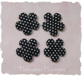 (BLsk-019a) 4 bloemen - stippen - katoen - zwart - 35mm