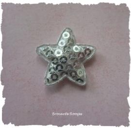 (Ster-043) Ster - pailletjes - zilver - 25mm