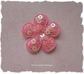(BLd-022) Bloem - pailletjes - roze - 25mm