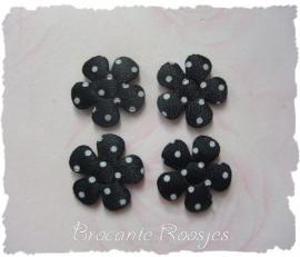 (BLs-018) 4 polka dot bloemetjes - satijn -  zwart - 25mm