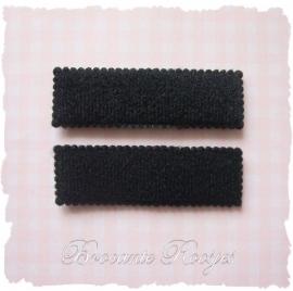 (HO-RE-014) 2 hoesjes - recht - vilt - zwart