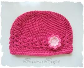 (BLh-076) Gehaakte bloem - fuchsia/roze/l.roze - 47mm