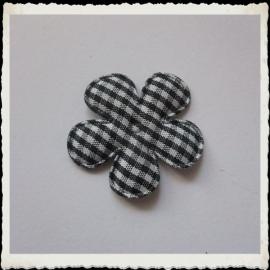 (BLr-019) geruite bloem - zwart - 35mm