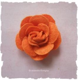 (Rv-026) Vilten roosje - oranje - 45mm